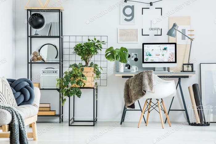 Simple home office with tree
