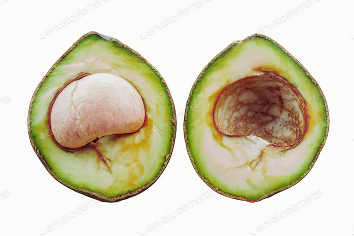 avocados and seeds on white background