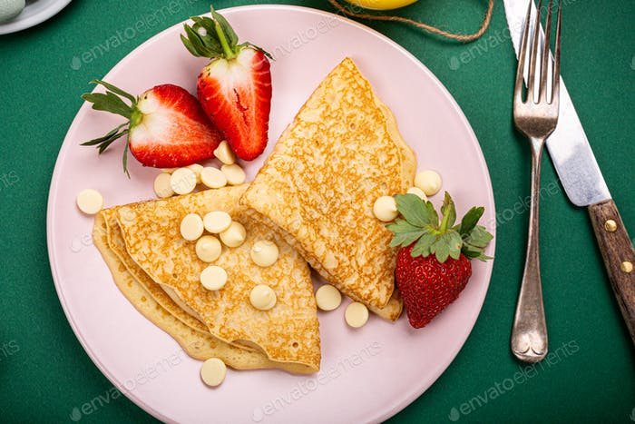 Healthy breakfast with fresh hot pancakes