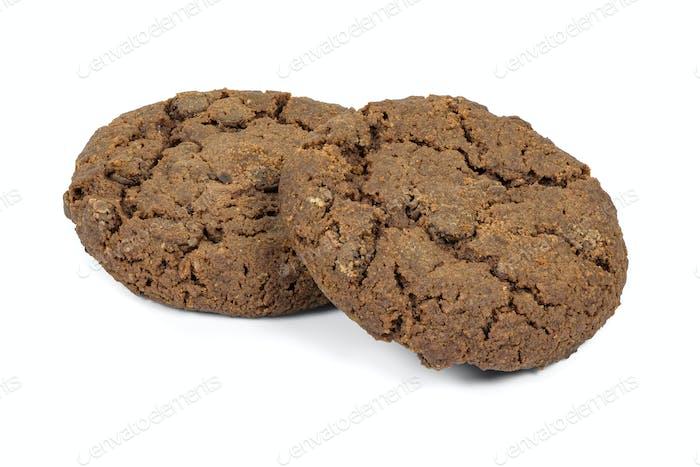 Dark chocolate chips cookies on white background