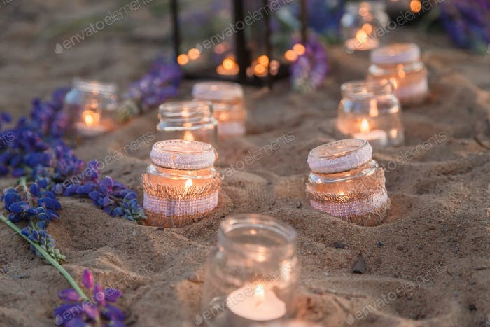 Romantic jars full of candles