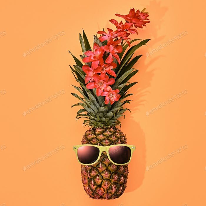 Fashion Hipster Pineapple. Tropical Summer Mood