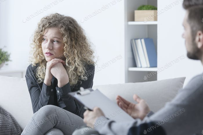 Depressed woman during session