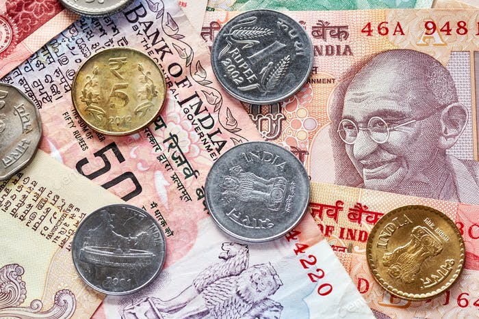 Close up picture of Indian rupee