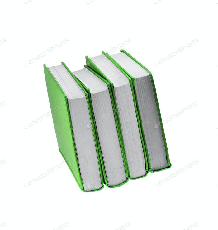 Books in green cover isolated on white