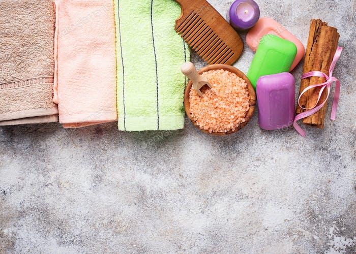 Soap, sea salt and towel