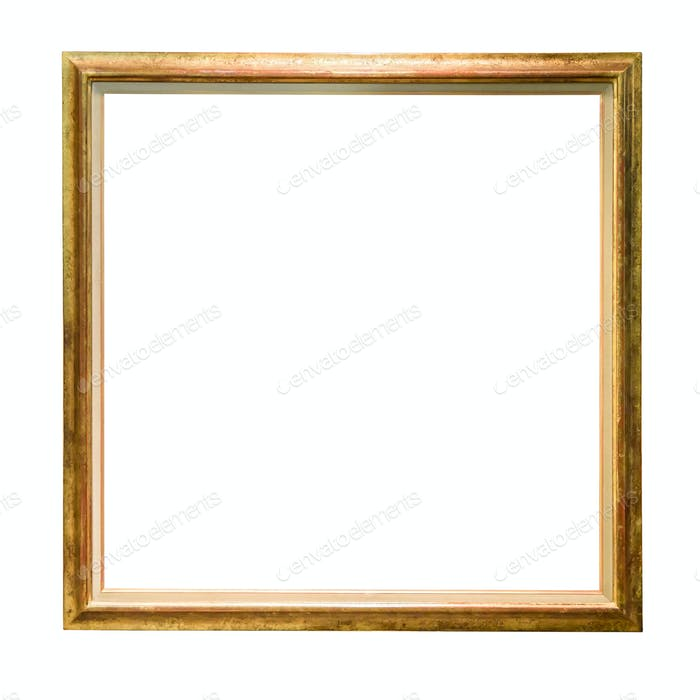 Vintage golden decorative picture frame isolated on white