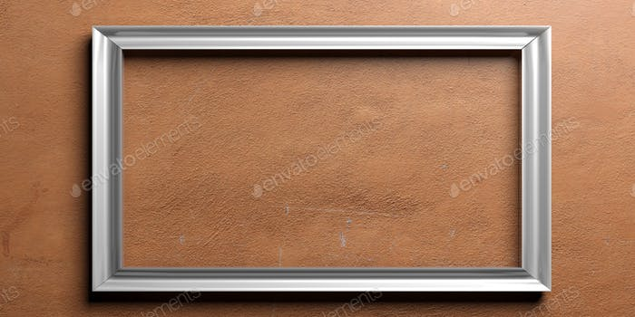 Silver frame on painted wall. 3d illustration
