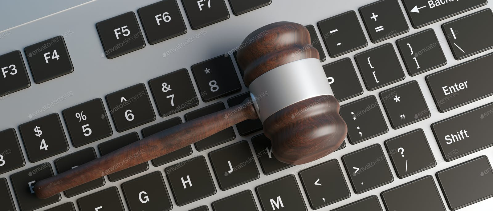 Cyber Crime Concept Law Gavel On Computer Keyboard Banner Top View 3d Illustration Photo By Rawf8 On Envato Elements