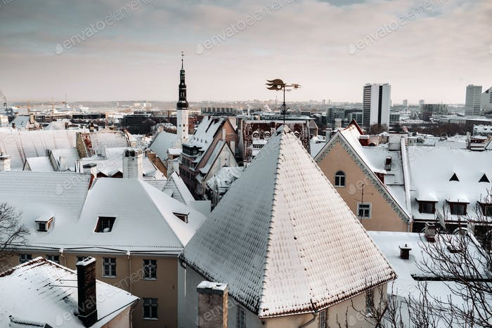 Winter View of the old town of Tallinn.Snow-covered city near the Baltic sea. Estonia