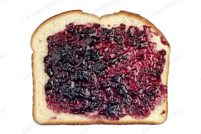 Bread with jelly on white