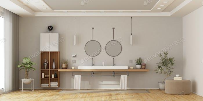 Minimalistisches Badezimmer mit Doppelwaschbecken