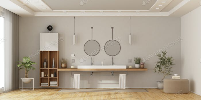 Minimalist bathroom with double washbasin