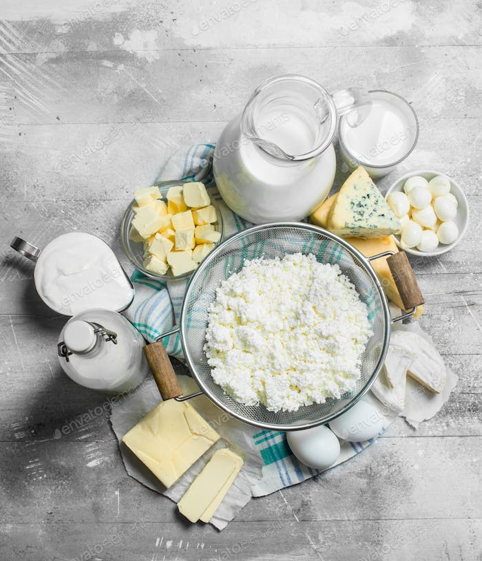 Various dairy products.
