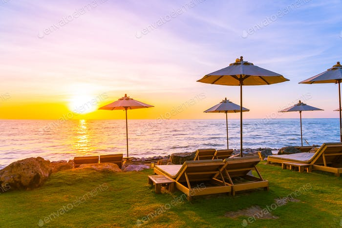 Beautiful Landscape of sea ocean on sky with umbrella and chair