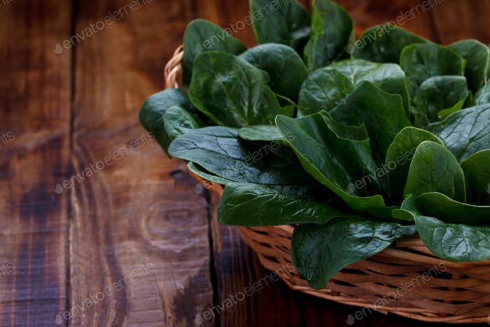 Spinach leaves in a basket
