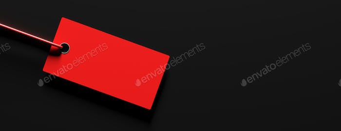 Red cardboard price label against black background. 3d illustration