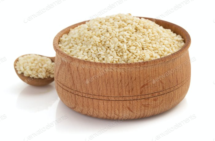 sesame seed in bowl on white background