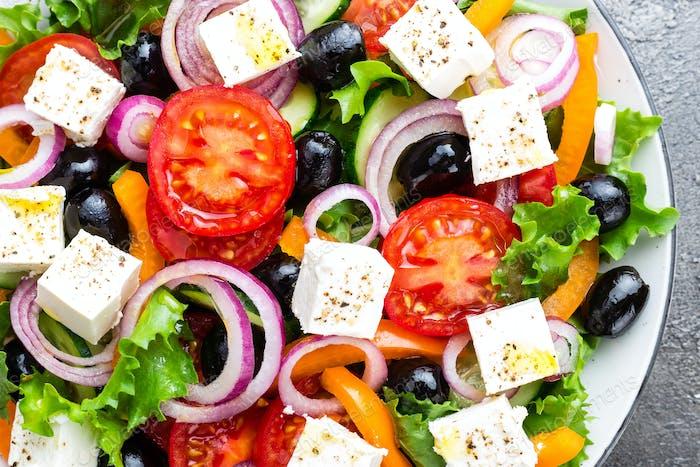Greek salad. Fresh vegetable salad