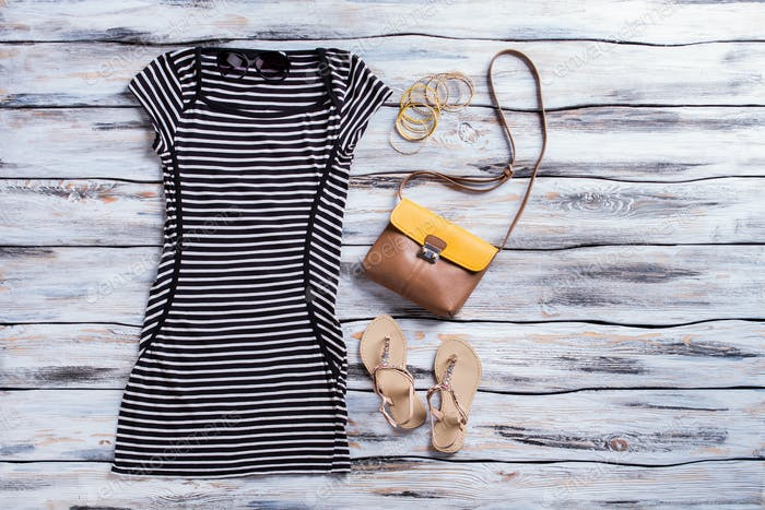 Striped black dress and sandals.