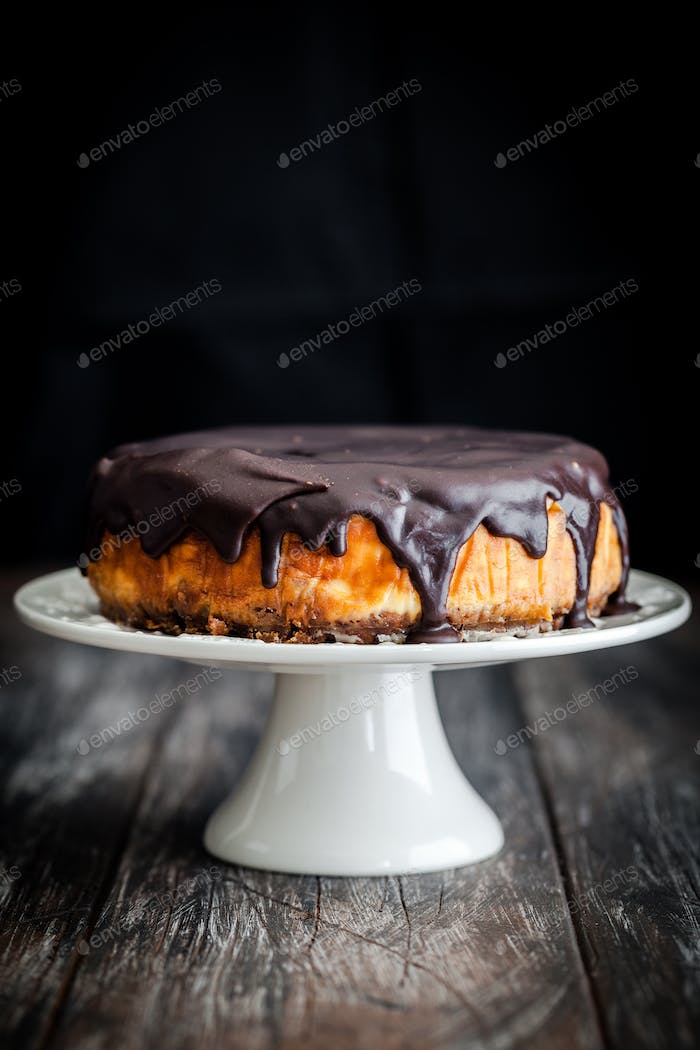 Amazing homemade cheesecake with chocolate coating