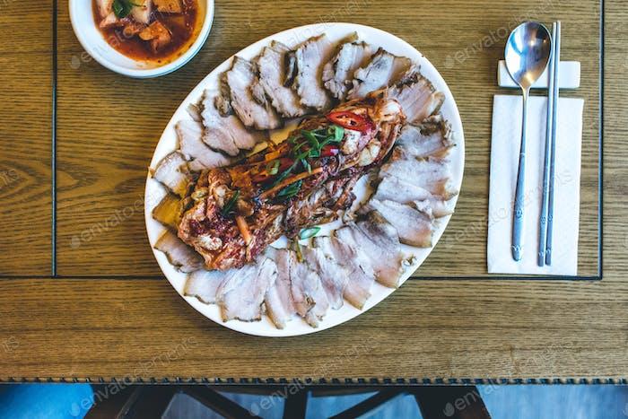 Korean pork brisket with fermented Kimchi