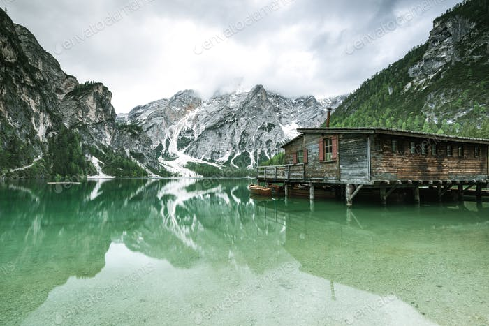 Pragser Wildsee or Braies Lake in Dolomites , Sudtirol, Italy.