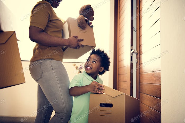 Black family moving in to new house