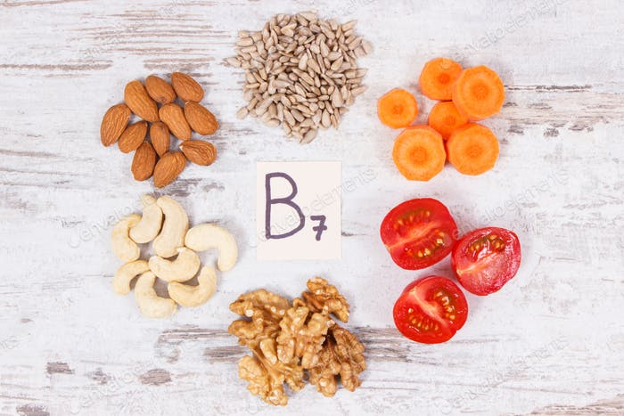 Healthy products as source minerals, vitamin B7 and fiber, nutritious eating concept