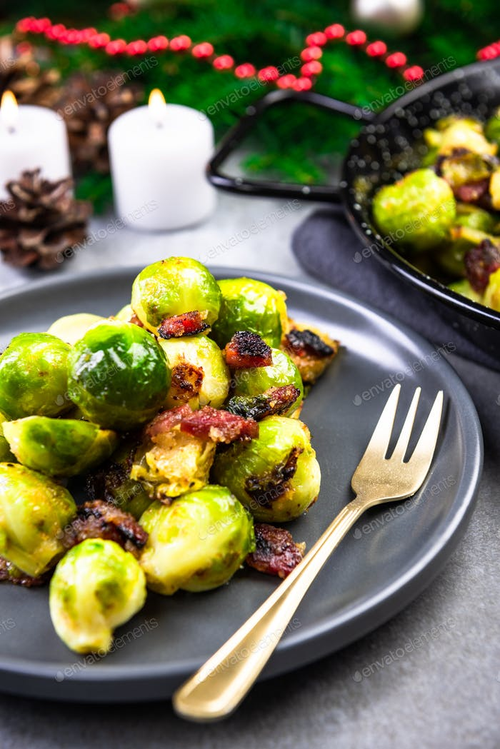 Roasted Brussels Sprouts with Bacon. Christmas Traditional Dish