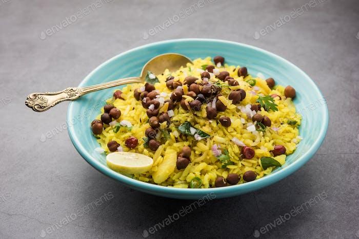 Chana Poha oder Kichererbsen Pohe ist ein proteinreiches Frühstücksrezept aus Indien