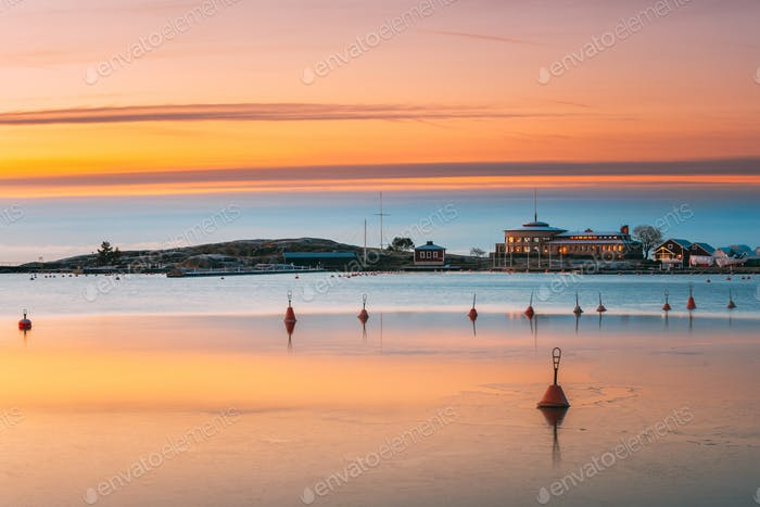 Helsinki, Finland. Landscape With Liuskasaari Pier, Jetty At Win