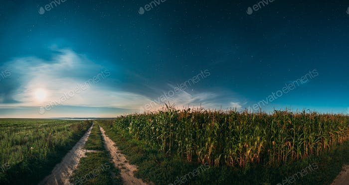 Moon In Night Starry Sky Above Landscape With Rural Country Road