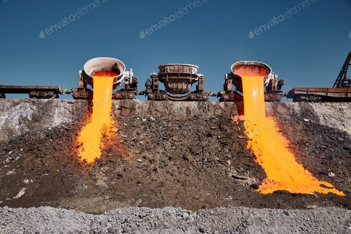 A stream of molten slag