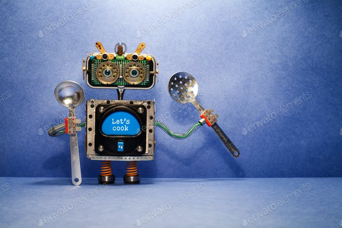Robot chef with ladle skimmer and message Let's cook.