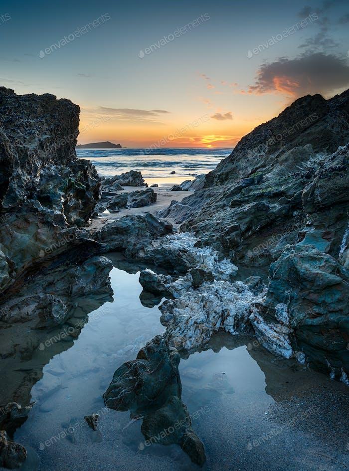 Lusty Glaze Beach at Newquay in Cornwall