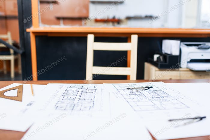 Arbeitsplatz des Architekten