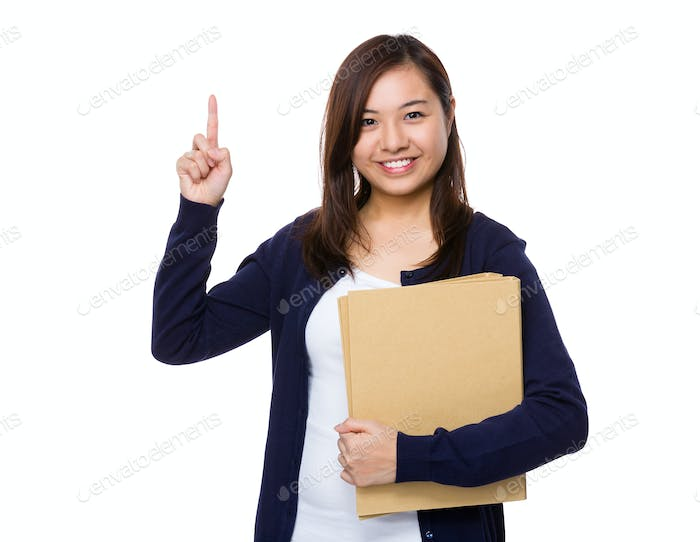 Asian Woman hold with folder and finger point up