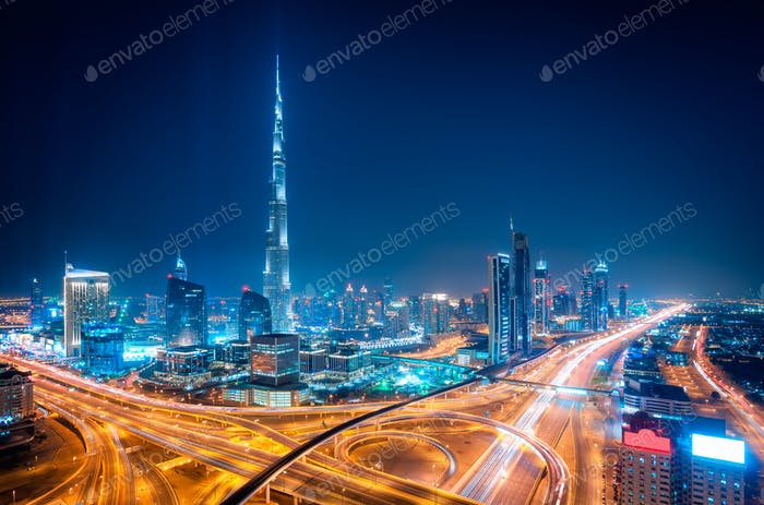 Night dubai downtown skyline, Dubai, United Arab Emirates