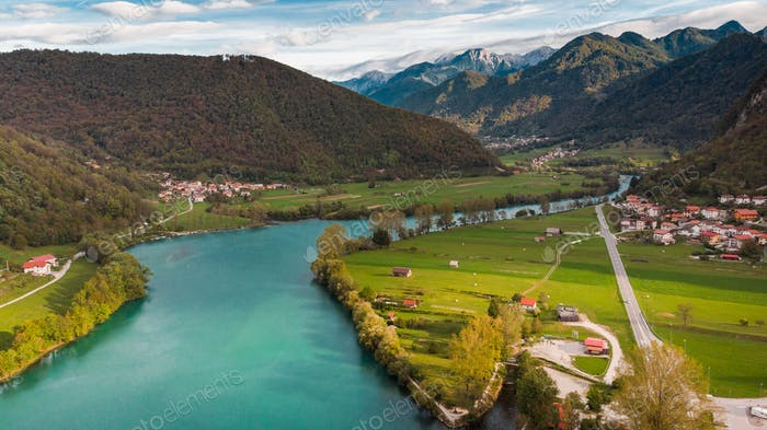 Most Na Soci in Slovenia. Beautiful Lake and Countryside. Aerial