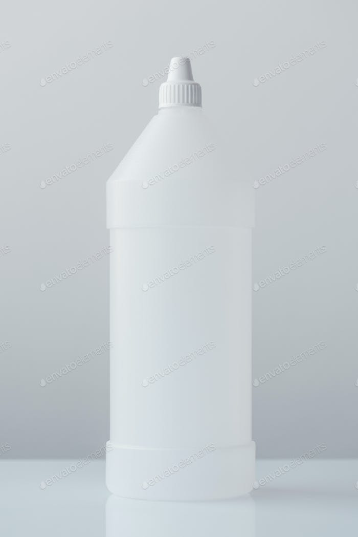 White plastic bottle container for medical ethyl alcohol