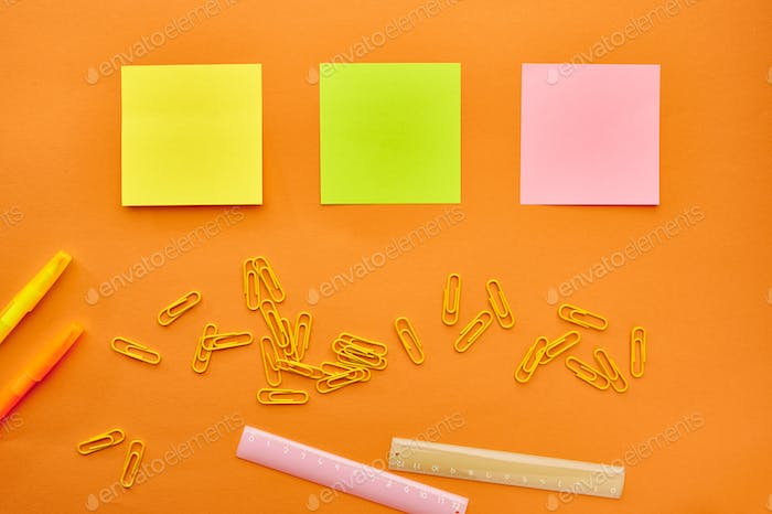 Paper clips, notepad and ruler closeup, stationery