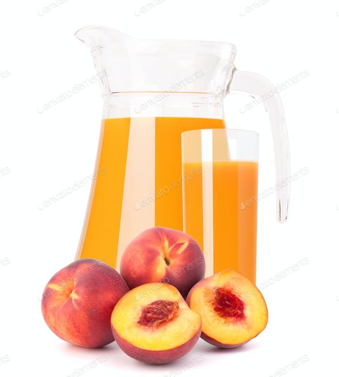 Peach fruit juice in glass jug