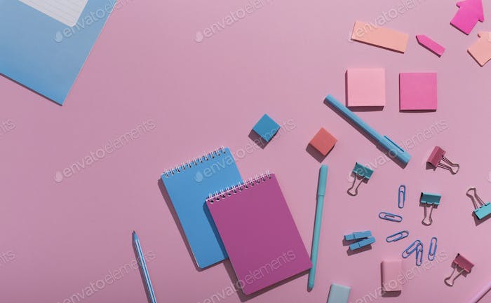 Creative office stationery set in pink colors for advertisement