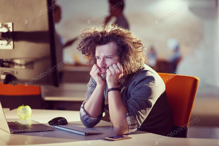 businessman relaxing at the desk