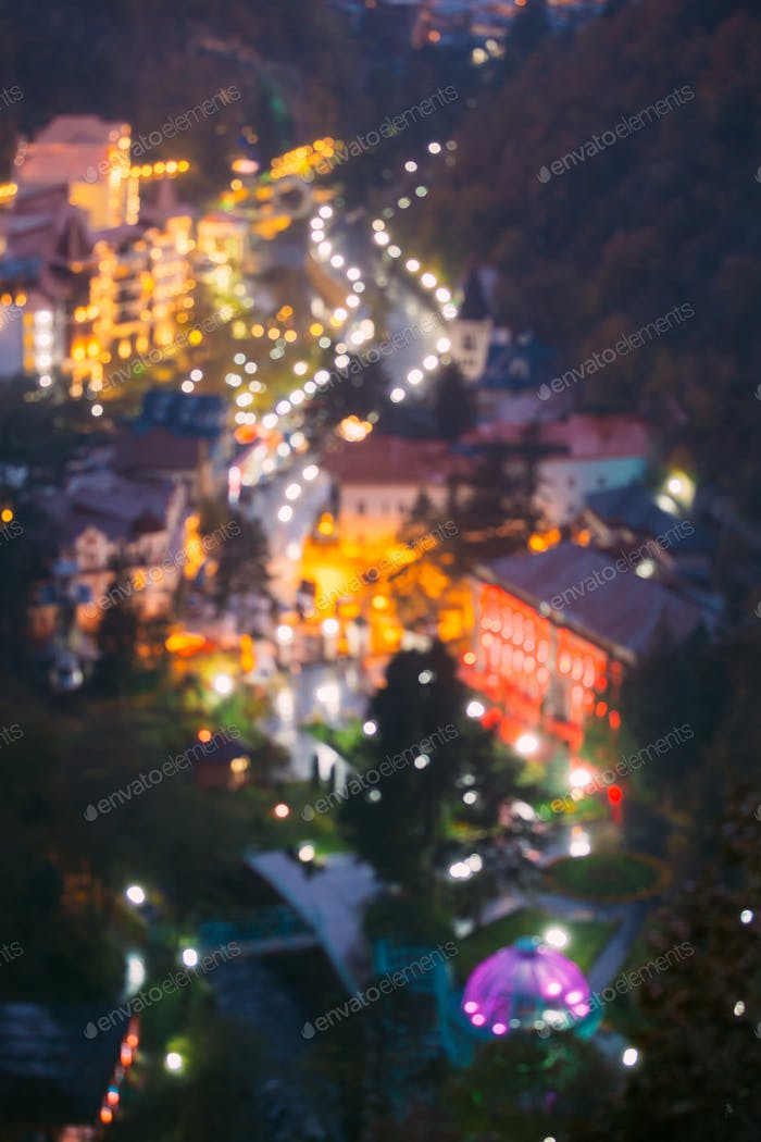 Borjomi, Samtskhe-Javakheti, Georgia.  Abstract Blurred Bokeh Bo