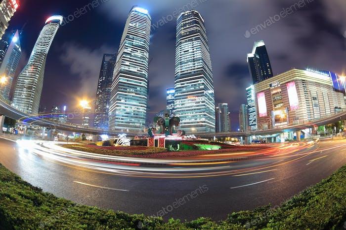 night scene of shanghai with fish-eye view