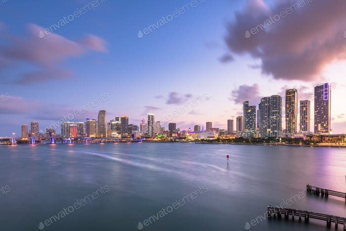 Miami, Florida, USA Downtown Skyline on the Bay
