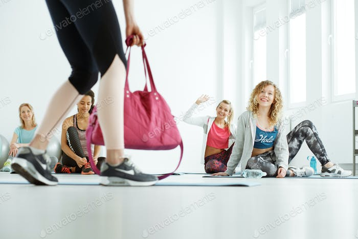 Girls waiting for pilates