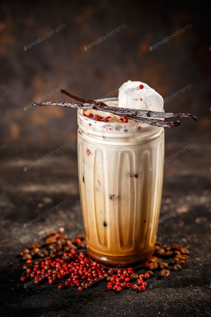 Tall glass coffee latte